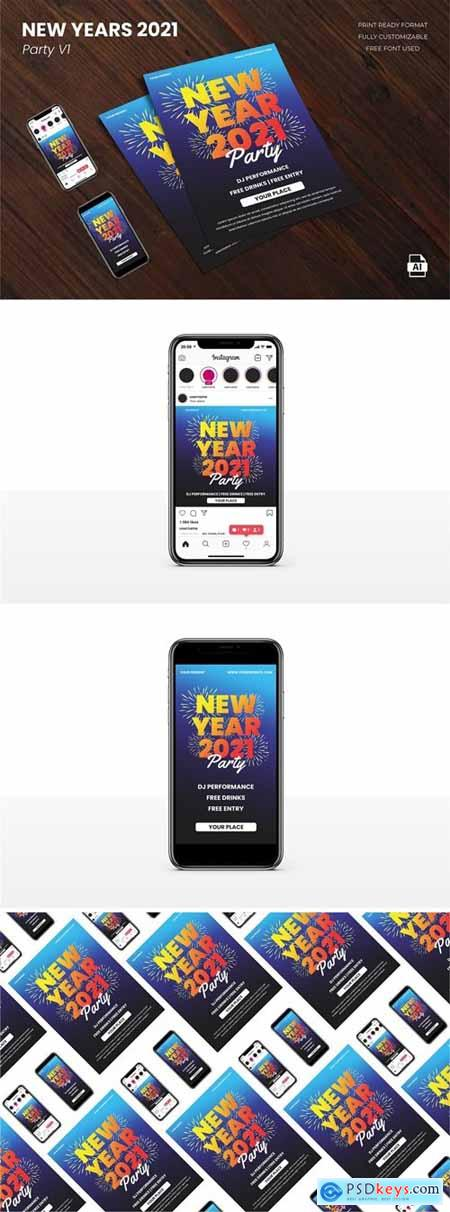 New Year Party 2021 Flyer Template Vol.01