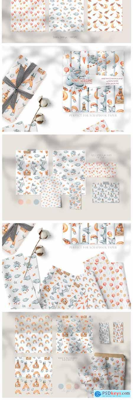 12 Watercolor Bunny Seamless Patterns 6983154