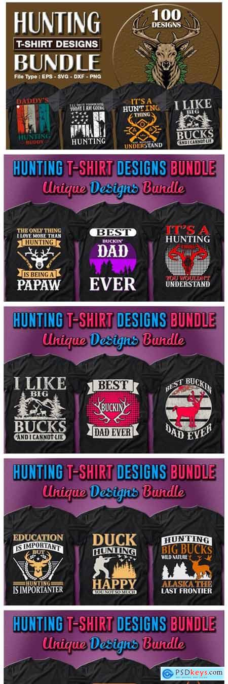 100 Hunting T-shirt Designs Bundle 7157428