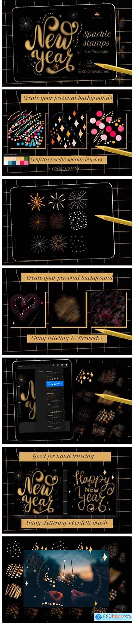 Sparkle New Year Stamps, Lettering Brush 7156127