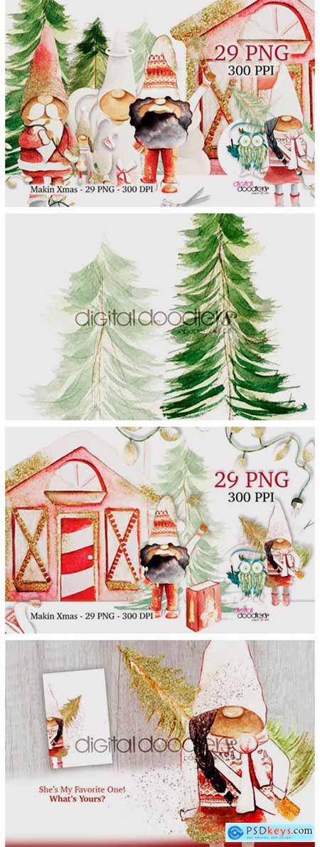 Makin Xmas Watercolor Black Gnomes 6986820