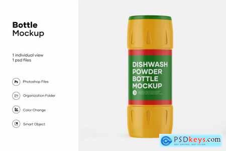 Plastic dishwash powder bottle mockup