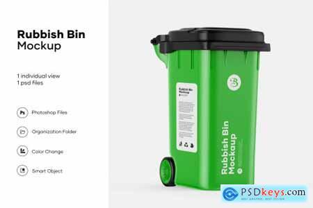 Plastic rubbish bin mockup