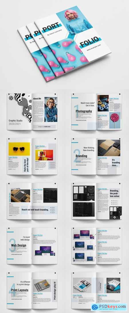 Portfolio Layout with Blue Accents 394738767