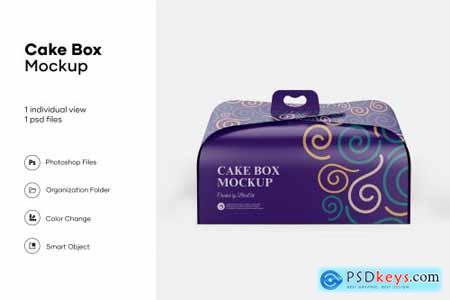 Cake box mockup design isolated