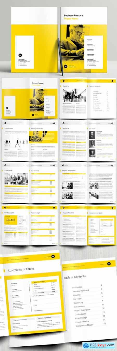 Business Proposal Booklet Layout with Yellow and Gray Accents 394749861