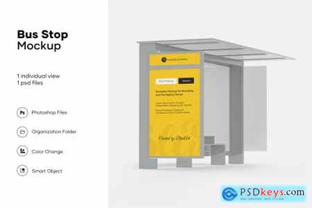 Bus stop mockup design isolated