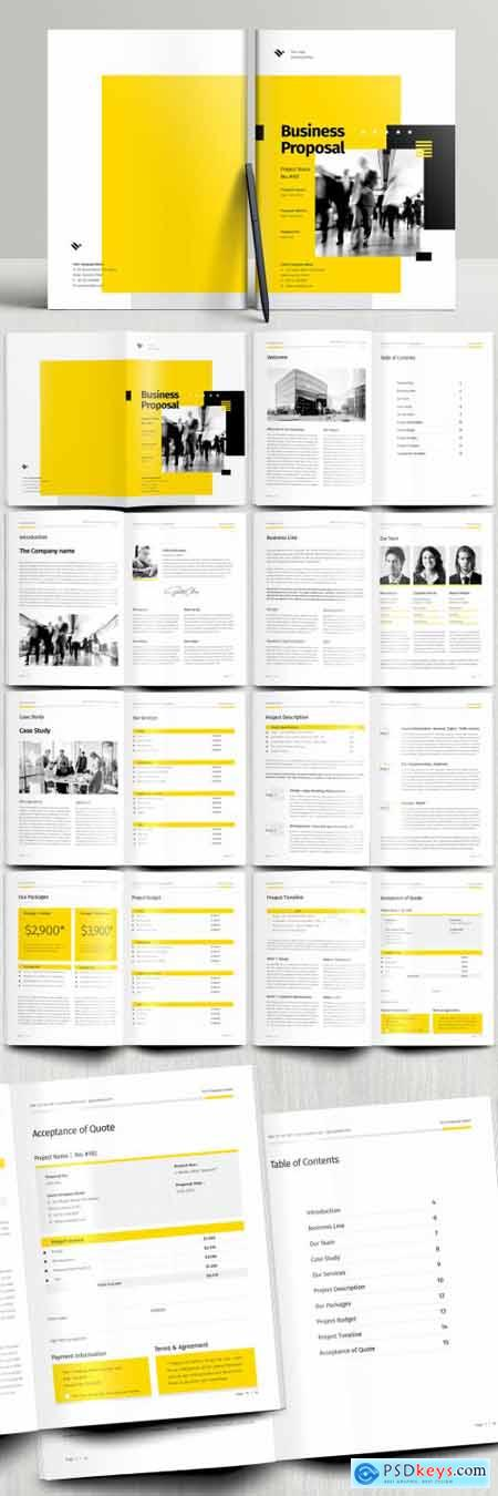 Business Proposal Booklet Layout with Yellow and Black Accents 394749860