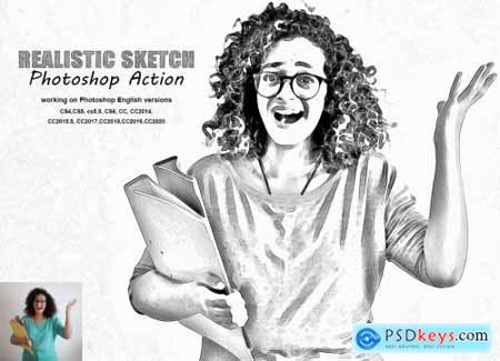 Realistic Sketch Photoshop Action 5378308