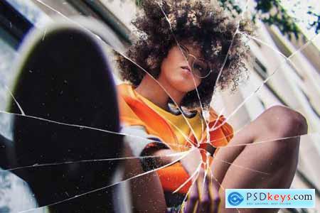 Broken Glass Photo Effect Mockup 5671746