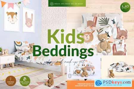 Kids Beddings Mock-ups Set on 3D 5579996