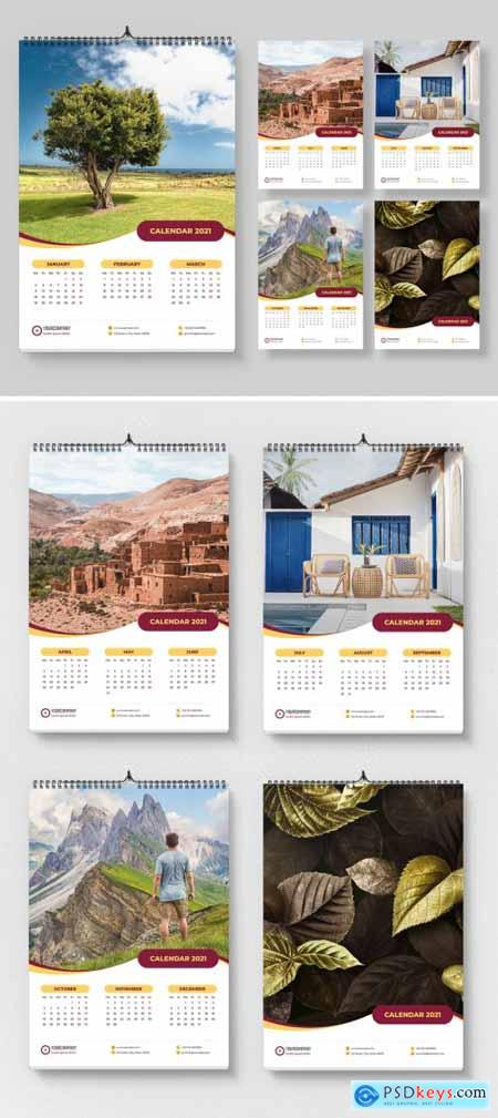 2021 Wall Calendar Layout with Yellow Accents 399838797