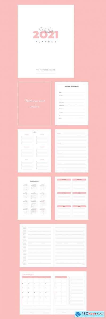 Agenda Planner 2021 Layout with Pink Accents 399838648