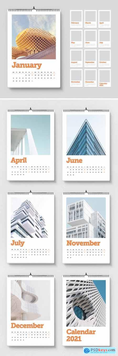 2021 Wall Calendar Layout with Orange Accents 399838826