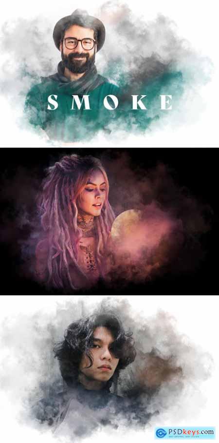 Artistic Smoke Photo Effect Mockup 399805872