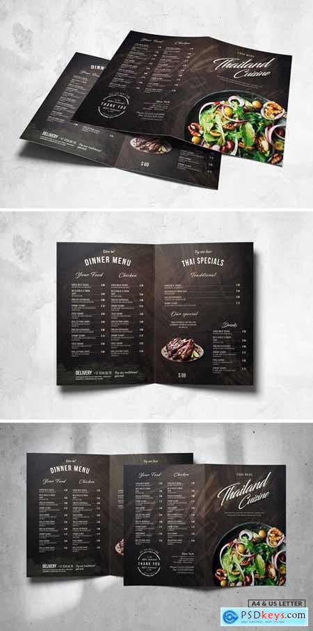 Bifold Food Menu Design A4 & US Letter K8LCKPV