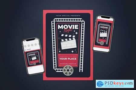 Movie Night Flyer Set