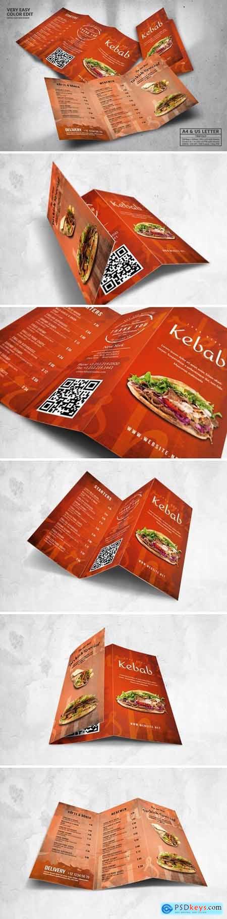 Trifold Food Menu Design A4 & US Letter U8VB5WY