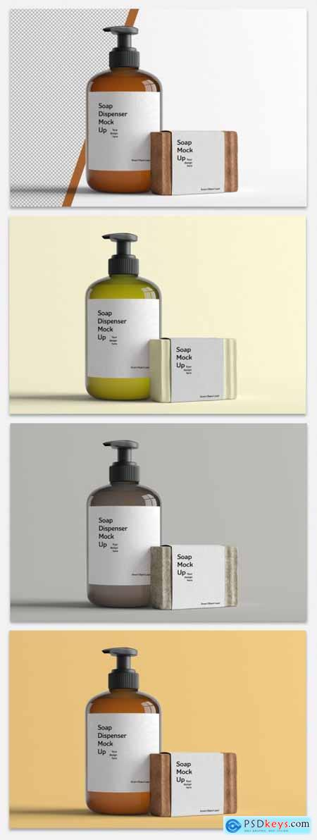 Mockup of a Cosmetic Bottle and Soap 398321131