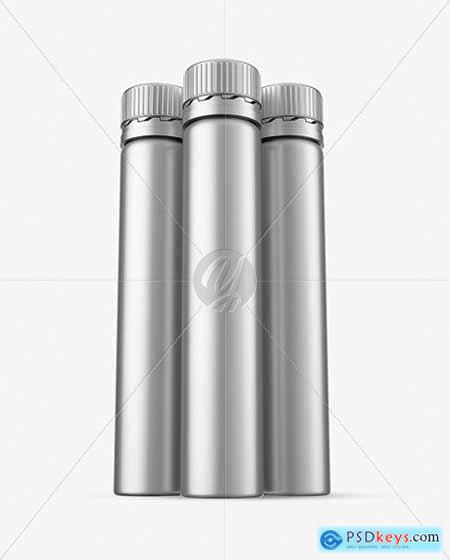 Three 25ml Matte Metallic Sport Nutrition bottles mockup 71180