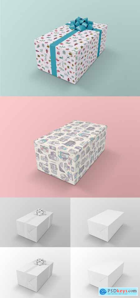 Gift Box Mockup Wrapped in Paper with Ribbon 398329065