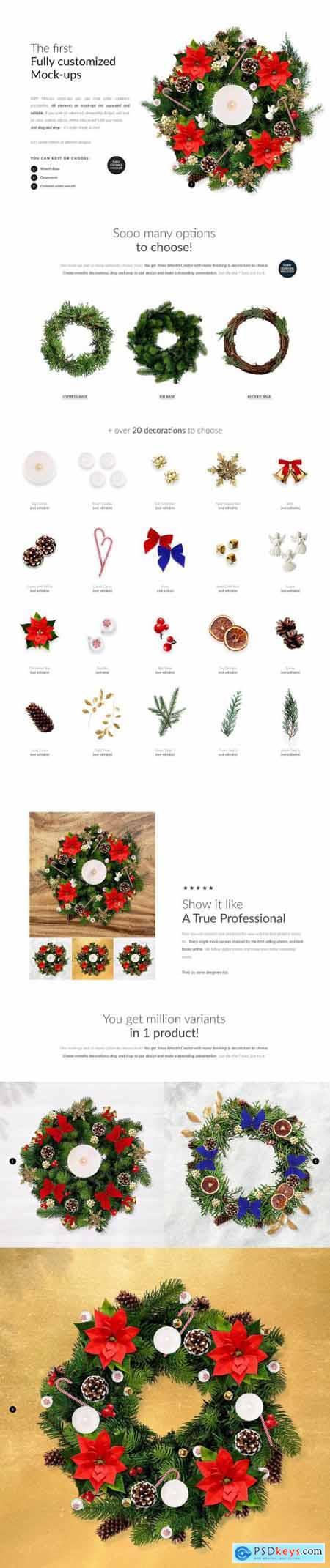 3x Christmass Wreath Creator Mock-up 5708215