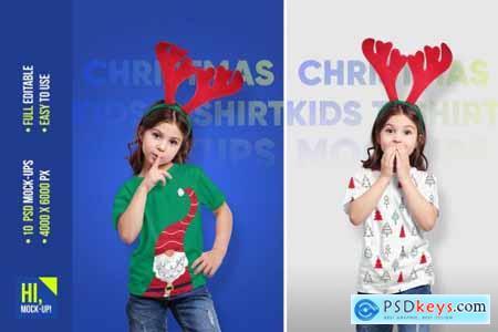 Christmas Kids Girl T-Shirt Mockups 5691730
