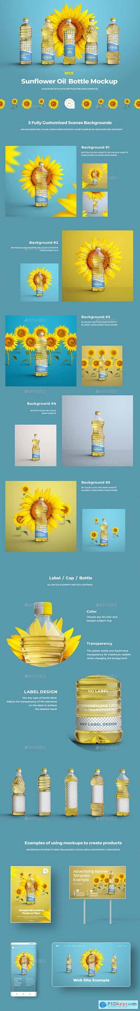 Mockups Plastic Sunflower Oil Bottles 29741146