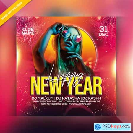 Happy new year party flyer PSD