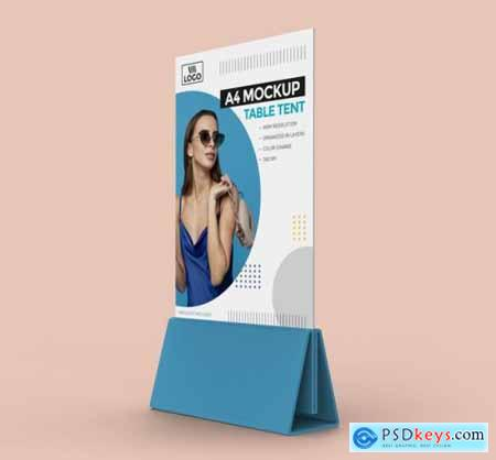 Promotional table tent mockup for a4 display