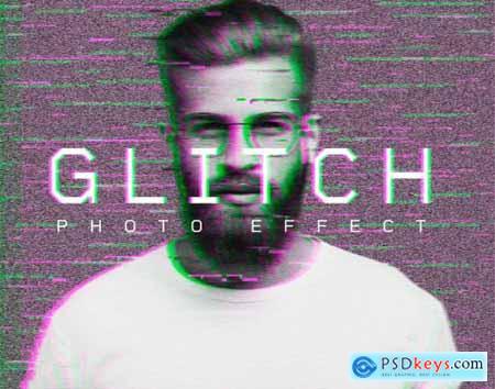 Retro Glitch Photo Effect Mockup 400834934
