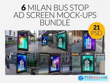 Milan BusStop Ad Screen MockUps Set 5488880