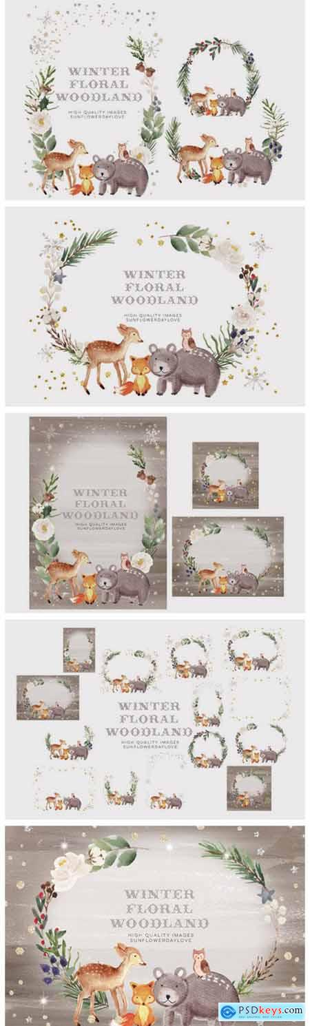 Frame Watercolor Winter Woodland, Animal 7161967