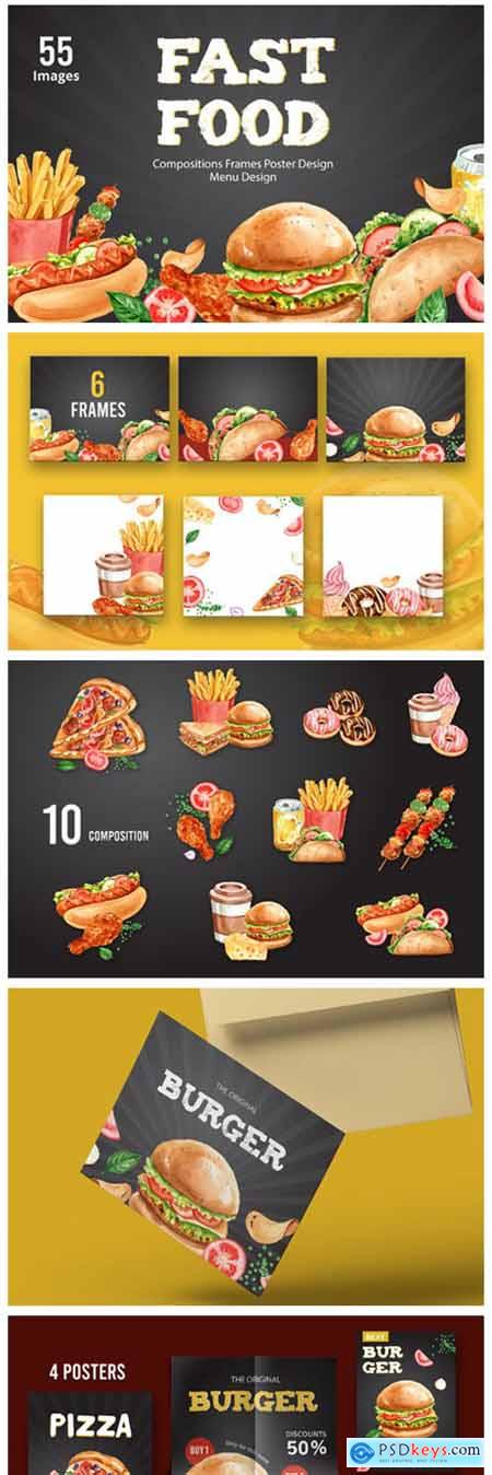 Fastfood Watercolor Illustrarion Set 7190028
