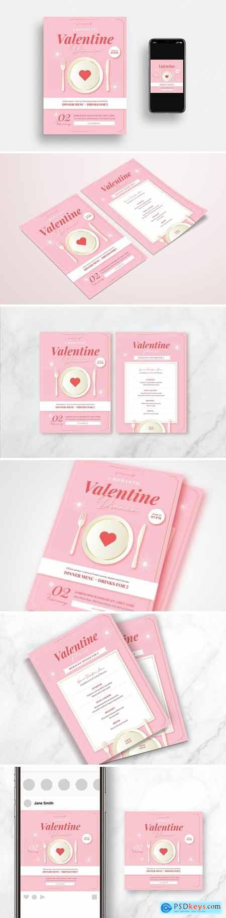 Valentines Day Dinner Flyer Set & Menu