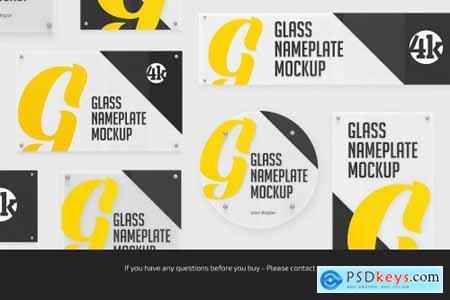 Glass Nameplate Mockup Bundle 5722480