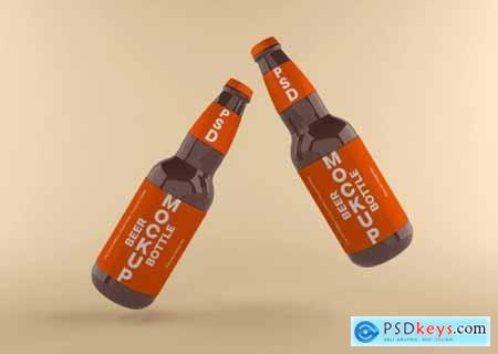 Beer bottle label mockup