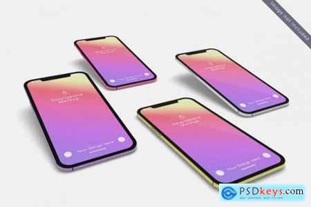 Multiple smartphone mockup