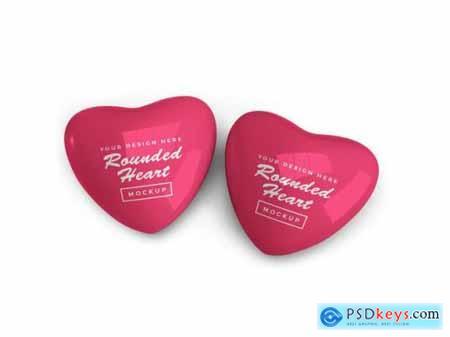 Rounded valentine heart mockup