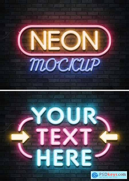 Neon Sign Text Effect on Brick Wall with Wires Mockup 401059760