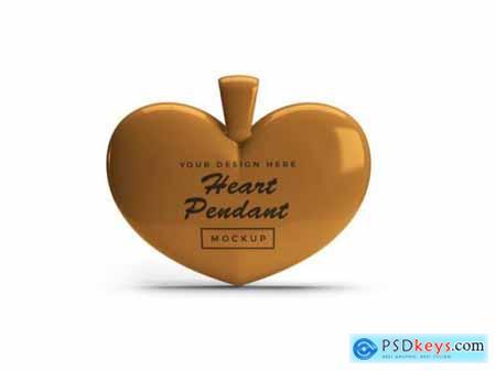 Golden heart pendant mockup