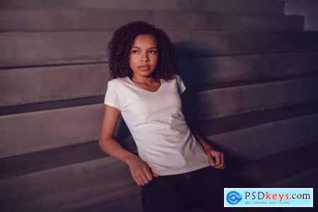 Young woman t-shirt mockup