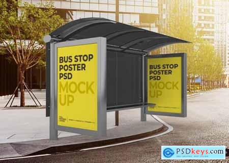 Realistic city bus stop billboard mockup