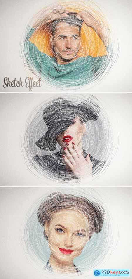 Sketch Drawing Photo Effect with Scribbles Mockup 401057543