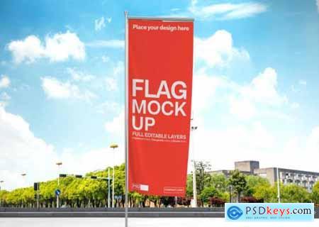 Vertical flag mockup