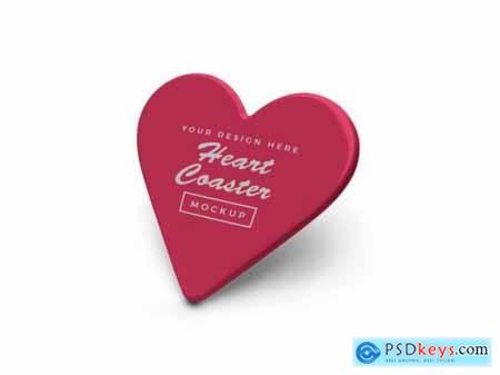 Heart coaster mockup