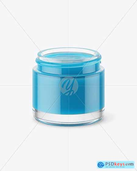 Opened Clear Jar With Colored Gel Mockup 72213