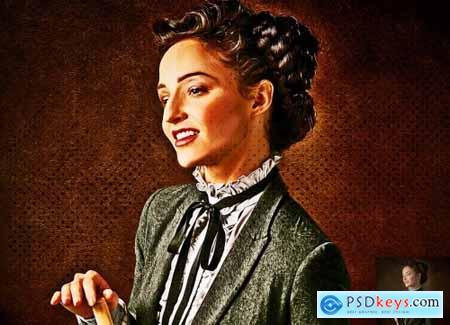 1950s-Style Oil Portrait PS Action 5670475