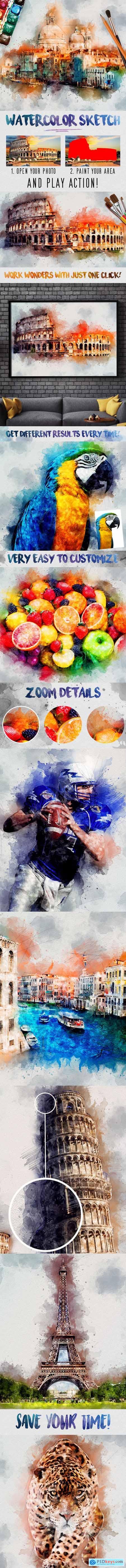 Watercolor Sketch Photoshop Action 29403050