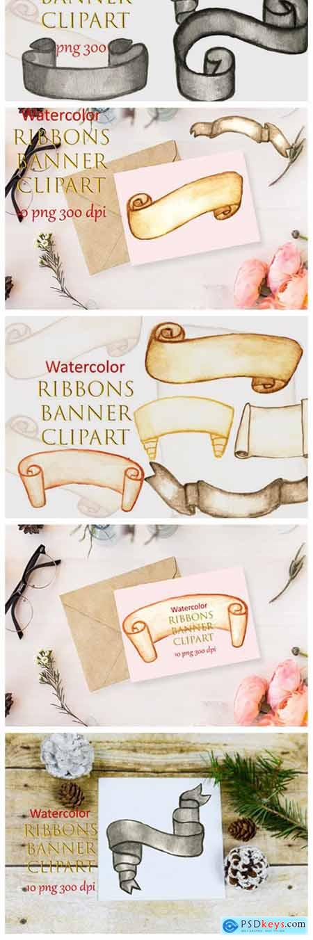Watercolor Clipart Ribbons Banner Winter 6995952